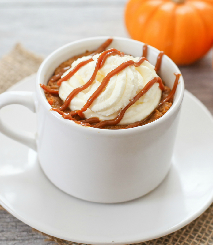 overhead photo of Pumpkin Pie Mug Cake