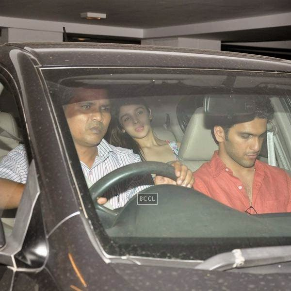 Alia Bhatt leaves after attending Karan Johar's party, organised at his residence, on July 26, 2014.(Pic: Viral Bhayani)