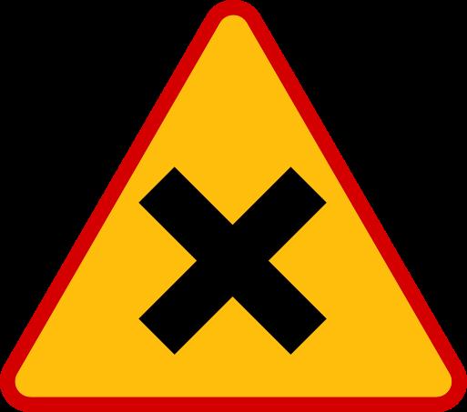 """Znak ostrzega przed skrzyżowaniem dróg, na którym pierwszeństwo nie jest określone znakami (skrzyżowanie równorzędne). Stosowany wyłącznie wtedy, gdy jedna z dróg miała nadane pierwszeństwo znakiem D-1 """"droga z pierwszeństwem"""", A-6a, A-6b, A-6c, A-6d, A-6e """"skrzyżowanie z drogą podporządkowaną"""", lub gdy układ skrzyżowania może sugerować inne zasady pierwszeństwa."""