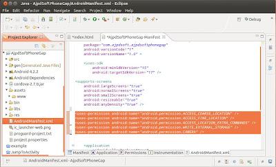 Preparar el proyecto PhoneGap y Eclipse con permisos y plugins necesarios