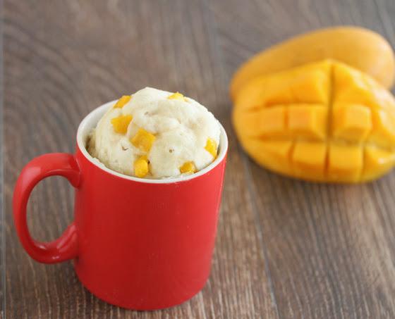close-up of mango coconut mug cake