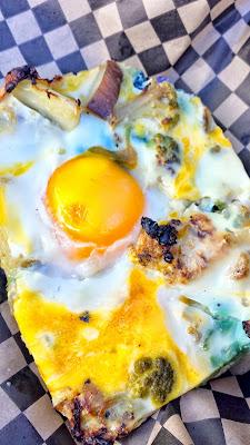 Breakfast Pizza slice from Tastebud Farm at the Portland Farmers Market PSU