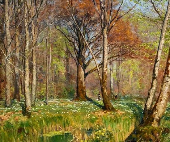 Hans Andersen Brendekilde - Children in a spring forest with anemones in bloom