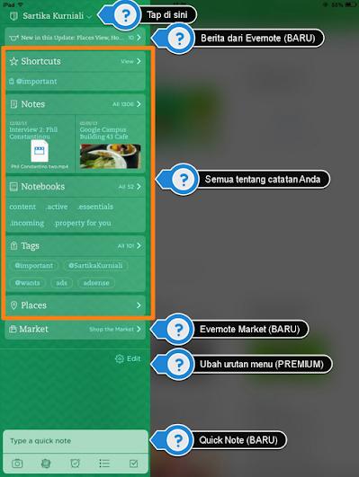 Layar Utama Evernote iOS7