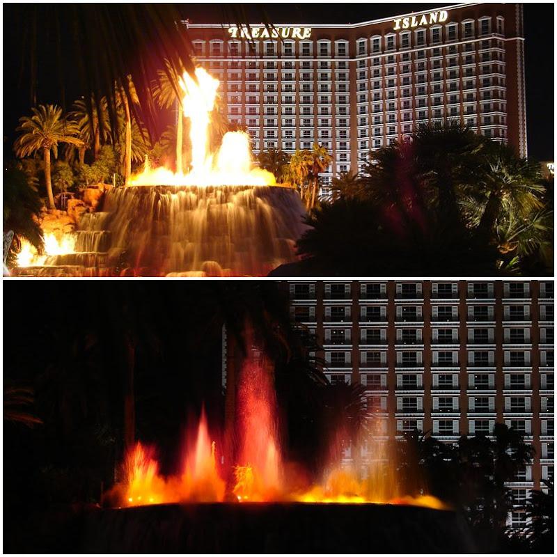 Las Vegas: der Vulkanausbruch von Hotel Mirage, im Hintergrund befindet sich das Treasure Island.