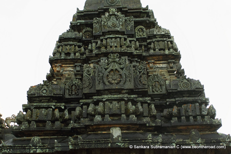Moss covered carvings at the Doddagaddavalli Hoysala Temple