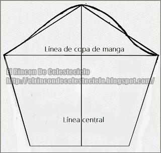 Manga dividida en centro con línea recta vertical