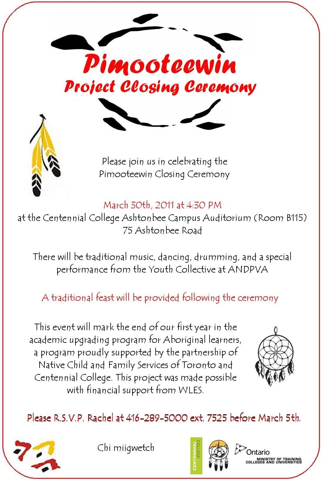 Pimooteewin program centennial college invitation to the closing pimooteewin program centennial college stopboris Image collections
