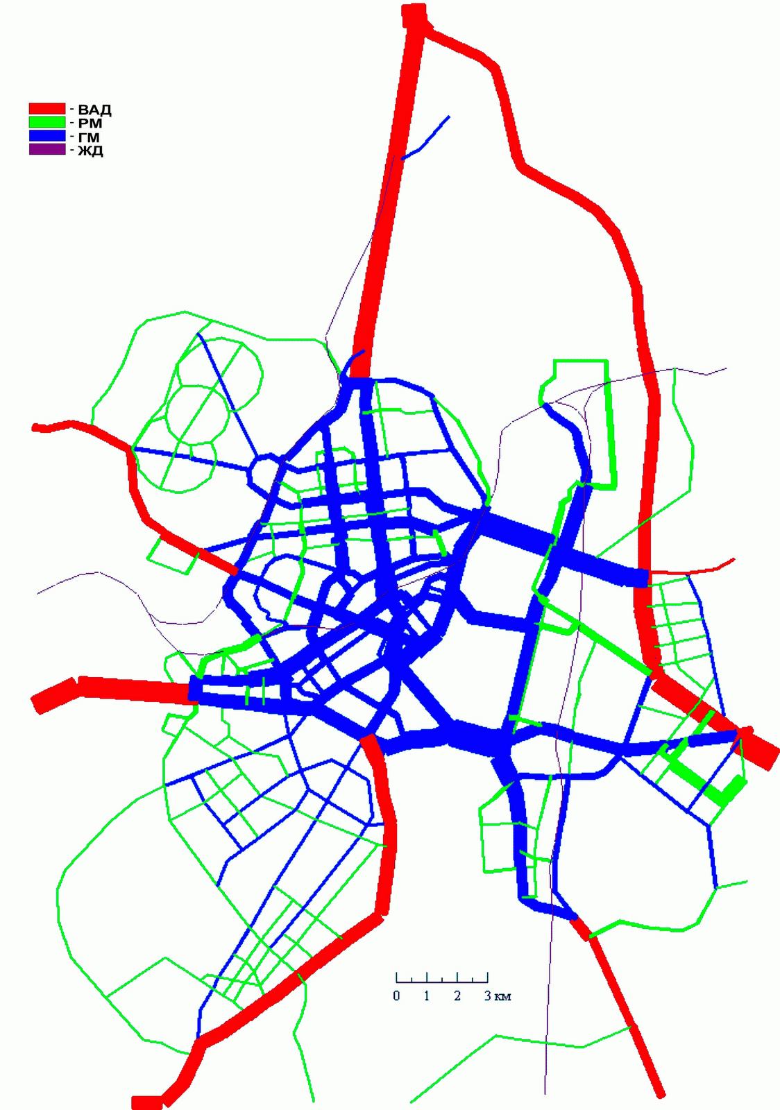 4. Вариант I. Схема МУДС совмещенная с картограммой автомобилепотоков по категориям магистральных улиц с малодифференцированными скоростями движения