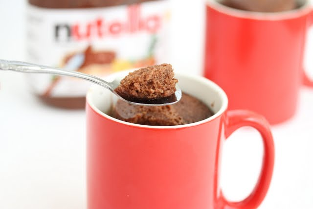 photo of a spoonful of Pure Nutella Mug Cake