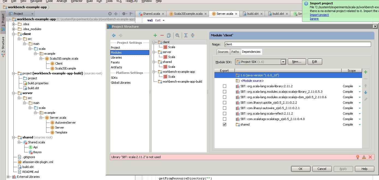 Easily setup Intellij-friendly cross-ScalaJS/JVM projects