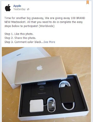 Fake Apple Facebook Page giving away MacBook