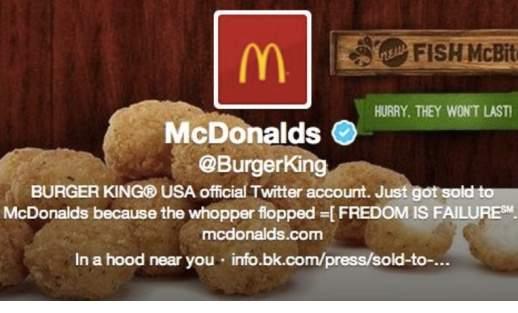 Hackean la cuenta de Twitter de Burger King para convertirla en McDonalds