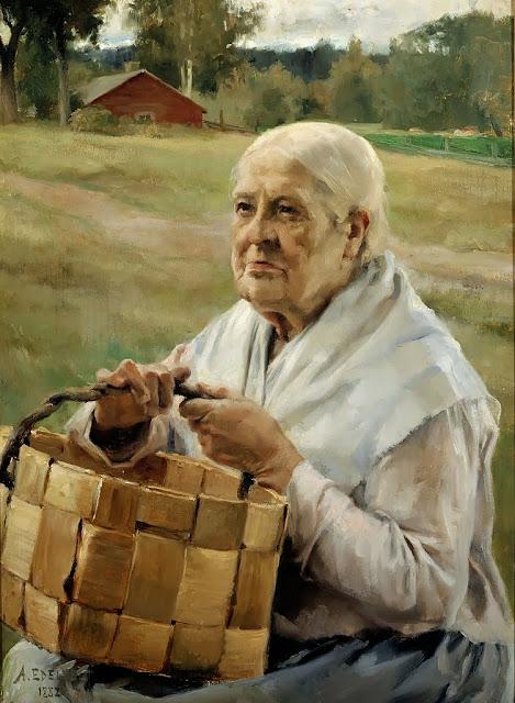 Albert Edelfelt - Old Woman with a Splint Basket