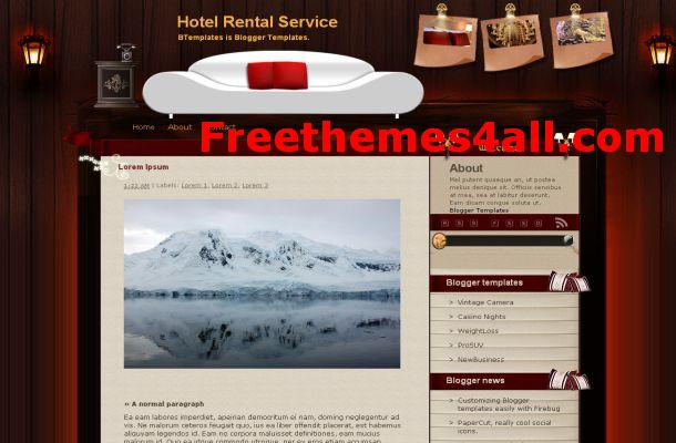 Free Blogger Hotel Brown Theme Template