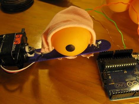 Close up on the blinking eye prototype
