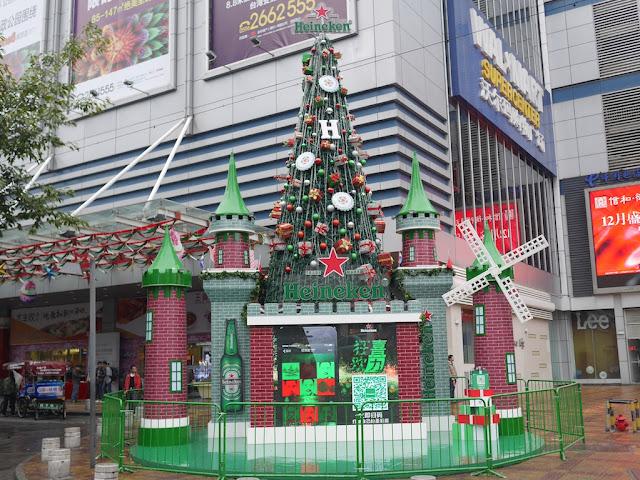 Heineken Christmas Tree in front of Walmart in Zhangzhou, China