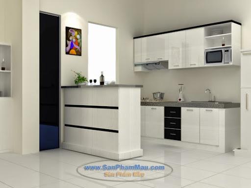 Kệ bếp gỗ màu trắng