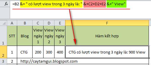 Hàm dùng để kết hợp chuỗi dữ liệu, phép tính, text trong Excel