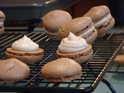 Cocoa macarons with espresso buttercream