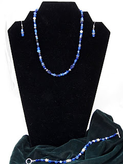 "Blue Heart - Glass beads, crystals, silver & pearl choker  adjustable 15 - 17""  $40 for the set"