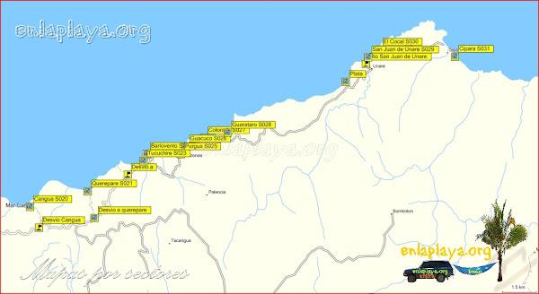 Mapa San Juan de Las Galdonas - Playas desde Cangua hasta Cipara