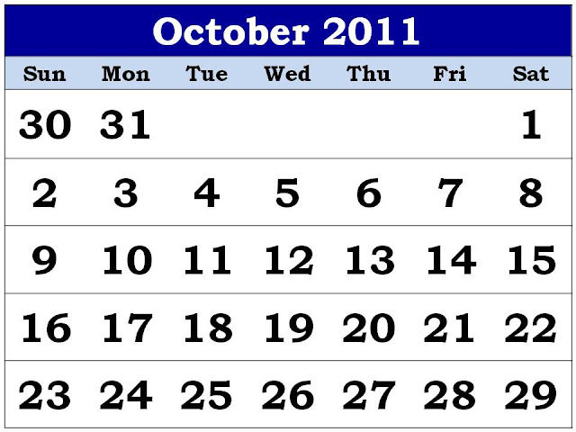 October 2011 Calendar Printable October 2011 Calendar Template