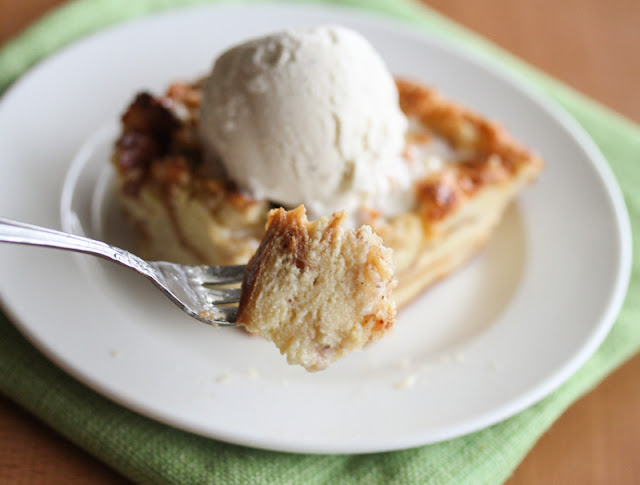 close-up photo of a forkful of bread pudding