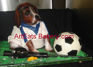 3D beagle dog custom fondant birthday cake with soccer ball, fishing rod and lure