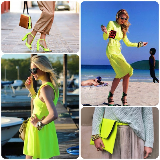 Neon Accessories, envelope clutch, skinny belt and heels