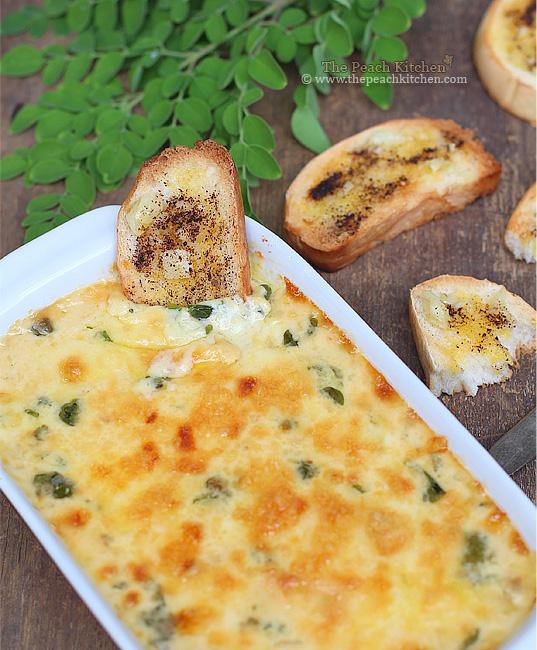 Kesong Puti & Malunggay Dip + Garlic Oregano Toasts | www.thepeachkitchen.com