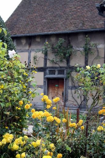 Gardens at the birthplace of William Shakespeare in Stratford upon Avon England