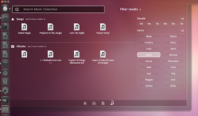 Ubuntu 11.10 music lens screenshot
