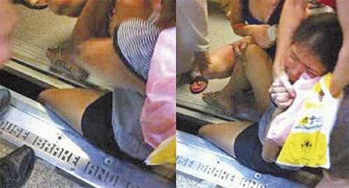 kaki tersepit di platform MRT