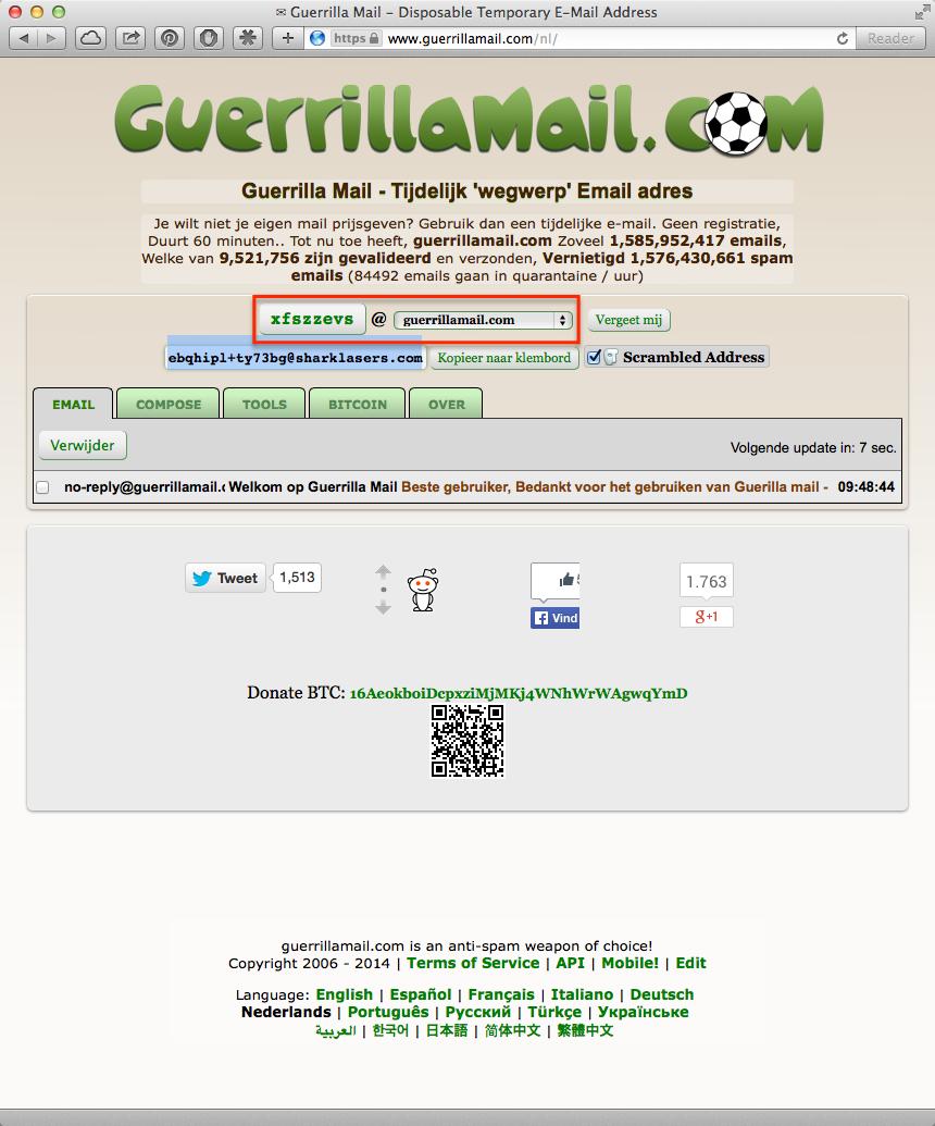 Guerrillamail.com voor een tijdelijk e-mailadres