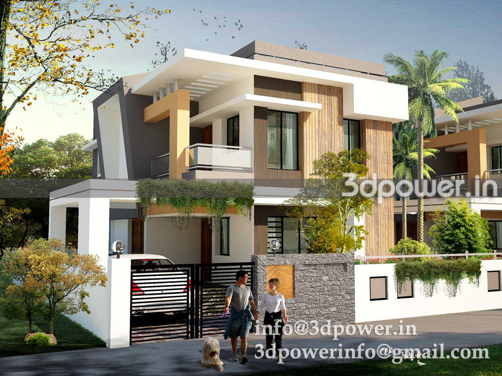 3d rendered image of row houses type a for Row house plans india