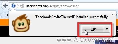 Kết thúc quá trình cài đặt Facebook-InviteThemAll
