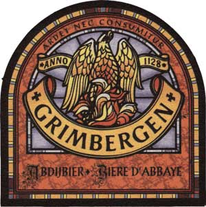 Bruselas Valonia: Antigua etiqueta de la cerveza de abadia Grimbergen, con el ave fenix