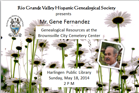 Mr. Gene Fernandez presenting at the Rio Grande Valley Hispanic Genealogical Society