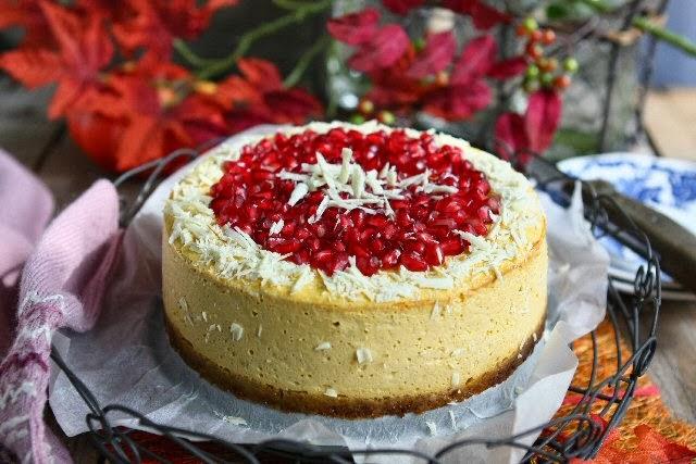 Pumpkin Quark Cheesecake with Pomegranate and White Chocolate