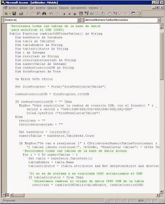 Crear módulo VBA para actualizar el DSN de las tablas vinculadas de una base de datos Access