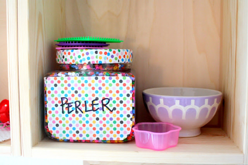 Norwegian%252520Labelled%252520Storage%252520Jars.jpg Bright Pastel Craft Room | Home Office Space from Barewunderbar