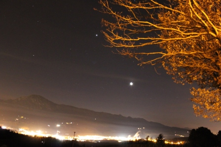 Conjuncion Luna Jupiter sobre Durango