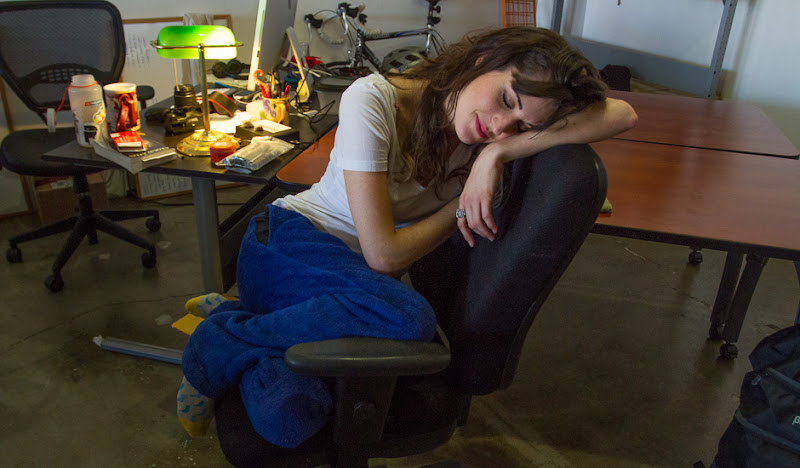 Julia sleeps in a chair in her Blue Vajamas