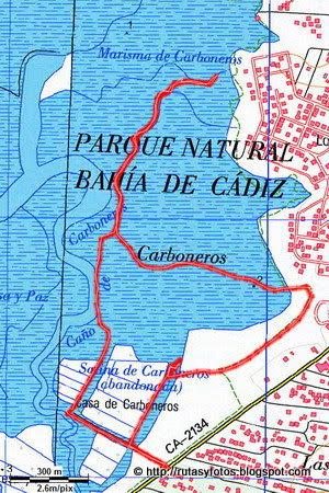 Mapa sendero Salina Carboneros