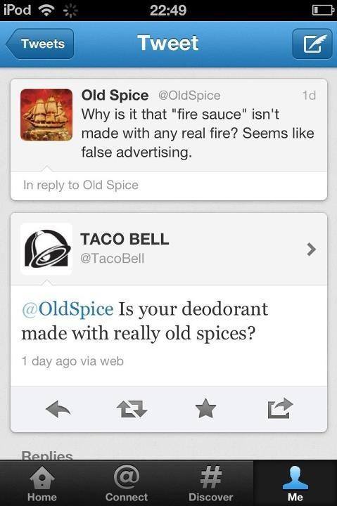 Tweet Fight Old Spice vs Taco Bell
