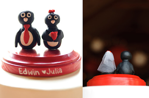 Red Penguin Wedding Cake Topper