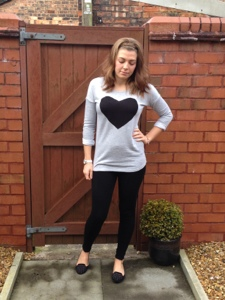Casual jumper and leggings. H & M heart jumper