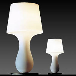 Modernist table lamps in white: Fate & Fatina from Lamplust.com