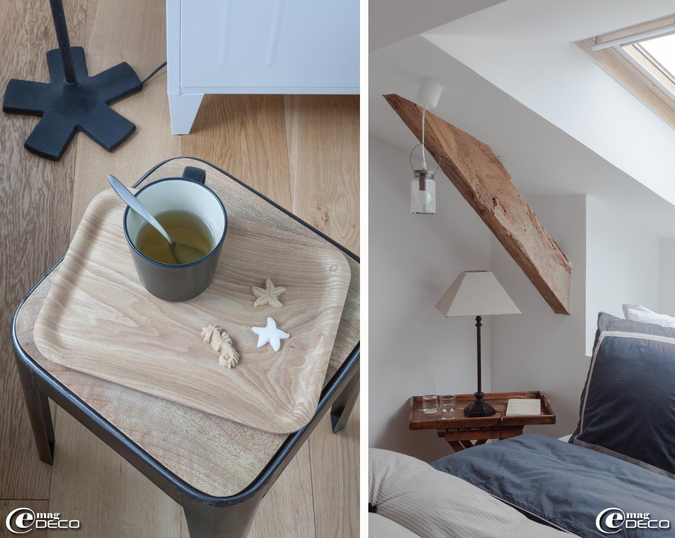 Sucres moulés 'Ercus', tasse 'Ikea', petite table pliante avec plateau 'AM.PM.', suspension en verre 'La Cabane de Zoé'